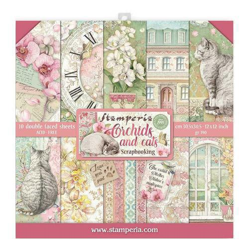 SET DE SCRAPBOOKING ORCHIDS & CATS STAMPERIA 30X30CM