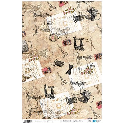 PAPEL CARTONAJE FASHION & SEWING ELEMENTS PAPER FORYOU 32×48,3cm