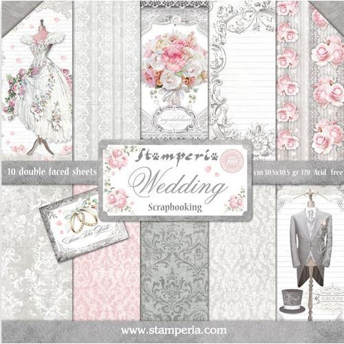 KIT DE PAPELES SCRAP STAMPERIA 30,5X30,5 WEDDING