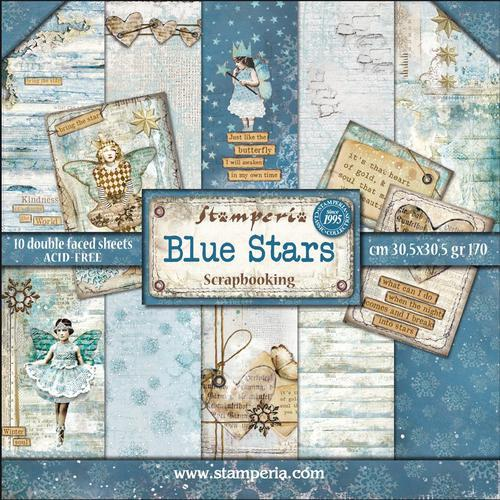 KIT DE PAPELES SCRAP STAMPERIA 30,5X30,5 BLUE STARS
