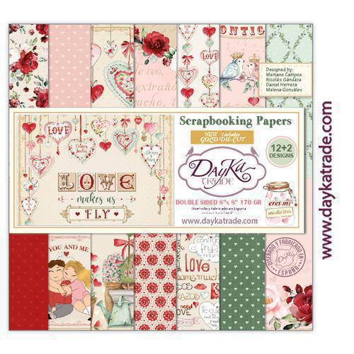 "Kit de papeles para Scrapbooking Dayka especial amor y amistad ""Love makes us fly"".20x20cm"