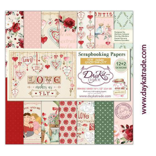 "Kit de papeles para Scrapbooking Dayka especial Amor y Amistad  – ""Love makes us fly"". 30,5x30,5cm"