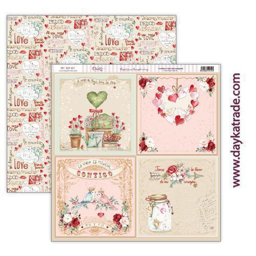 "Papel scrap amor y amistad – colección ""Love makes us fly"" scp-415"