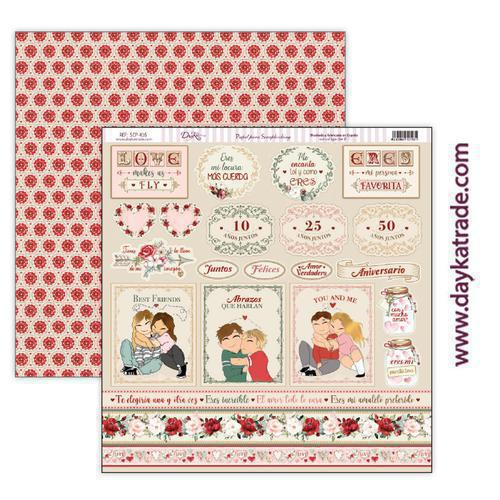 "Papel scrap amor y amistad – colección ""Love makes us fly"" scp-416"