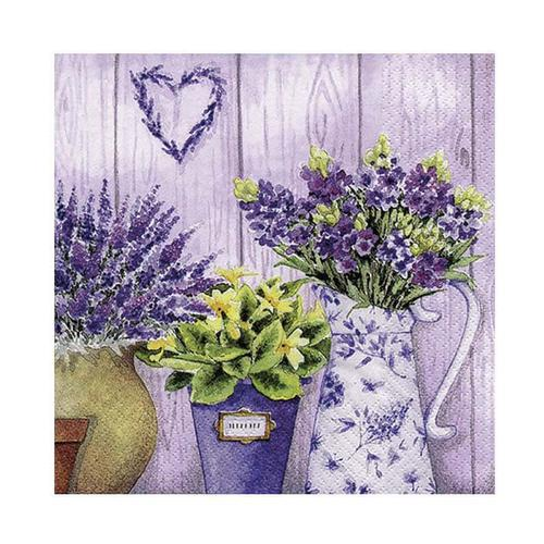 SERVILLETA LILAC FLOWERS WITH HEART
