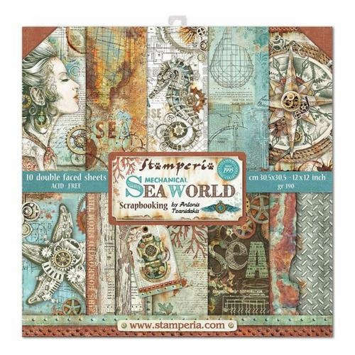 KIT DE PAPELES SCRAP STAMPERIA 30,5X30,5 SEA WORLD