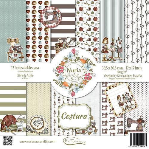 KIT DE PAPELES COSTURA 30,5X30,5 NURIA SCRAP &TIPS