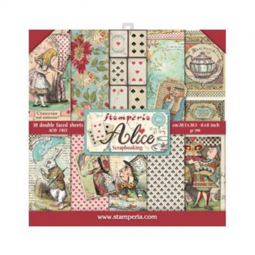 "KIT DE PAPELES SCRAP STAMPERIA 20.3x20.3 (8x8"") ALICE"