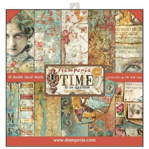 KIT DE PAPELES SCRAP STAMPERIA 30,5X30,5 TIME IS AN ILUSION