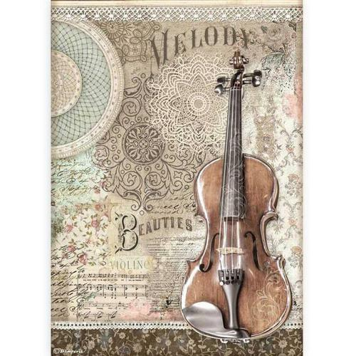 PAPEL DE ARROZ VIOLIN PASSION STAMPERIA A4