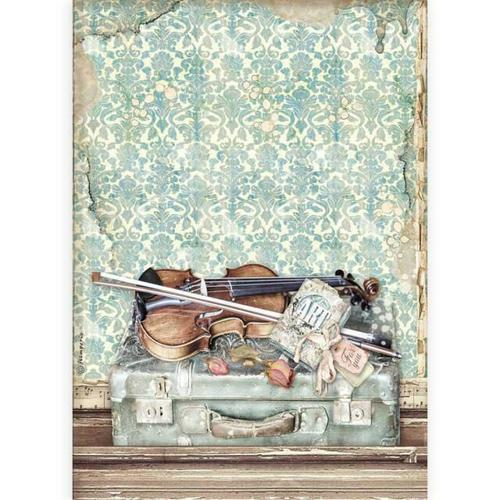 PAPEL DE ARROZ VIOLIN AND TRAVELLING PASSION STAMPERIA A4