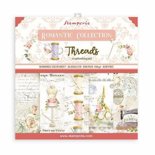 SET DE PAPELES SCRAPBOOKING ROMANTIC THREADS STAMPERIA 20X20CM SBBS36