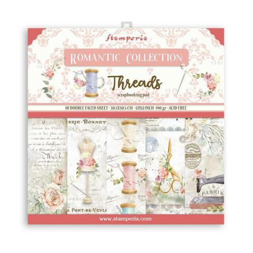 SET DE PAPELES SCRAPBOOKING ROMANTIC THREADS STAMPERIA 30X30CM SBBL88